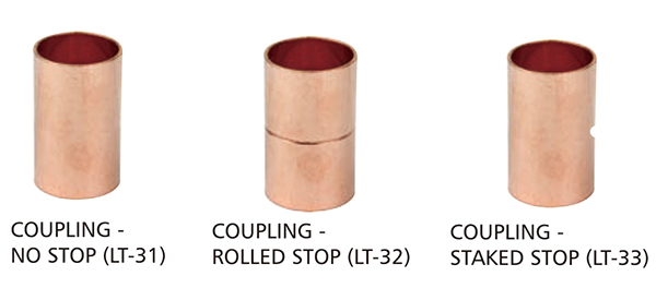 Everflow CCRC3001 3 X 2 Nominal Pipe Diameter Reducing Copper Coupling With Sweat Sockets And With Rolled Tube Stop Everflow Supplies
